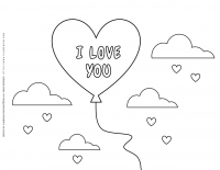 Valentines day – Coloring pages – Heart Balloon